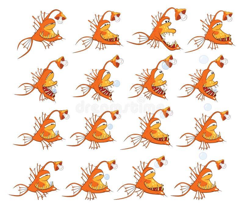 Tecknad filmtecken fiskar för dig design och dataspelen storyboard stock illustrationer