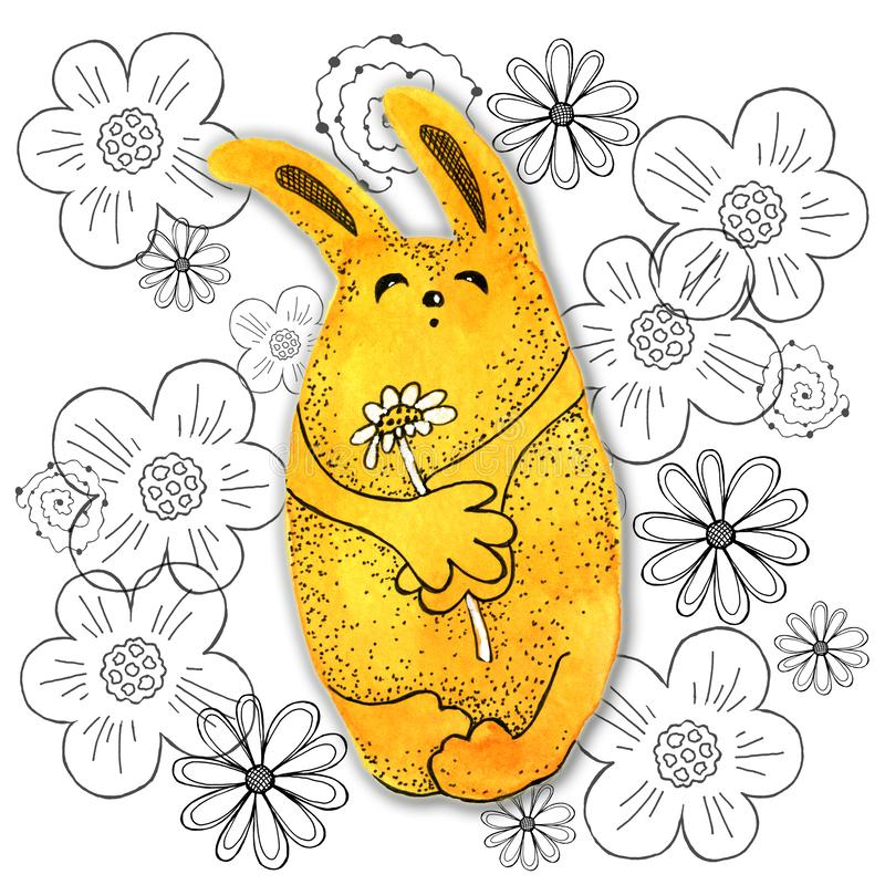 Tecknad filmtecken i kawaiistil med bilden av en hare p? en abstrakt bakgrund Designtapet, tryck, r?kningar, f?rgl?ggning stock illustrationer