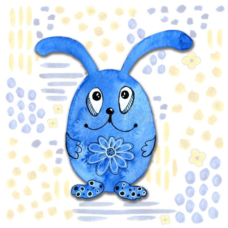 Tecknad filmtecken i kawaiistil med bilden av en hare p? en abstrakt bakgrund Designtapet, tryck, r?kningar, f?rgl?ggning vektor illustrationer