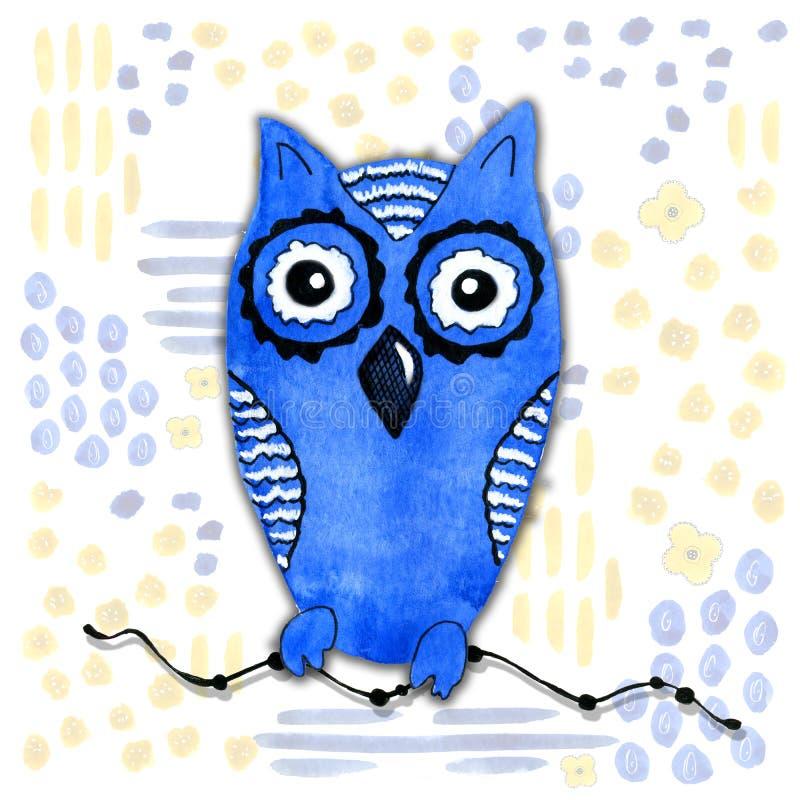 Tecknad filmtecken i kawaiistil med en bild av en uggla p? en abstrakt bakgrund Designtapet, tryck, r?kningar, f?rgl?ggning stock illustrationer