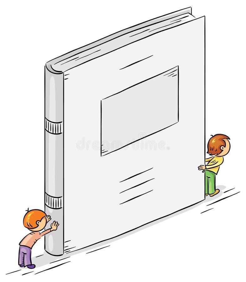 Tecknad filmtecken som rymmer en stor bok stock illustrationer