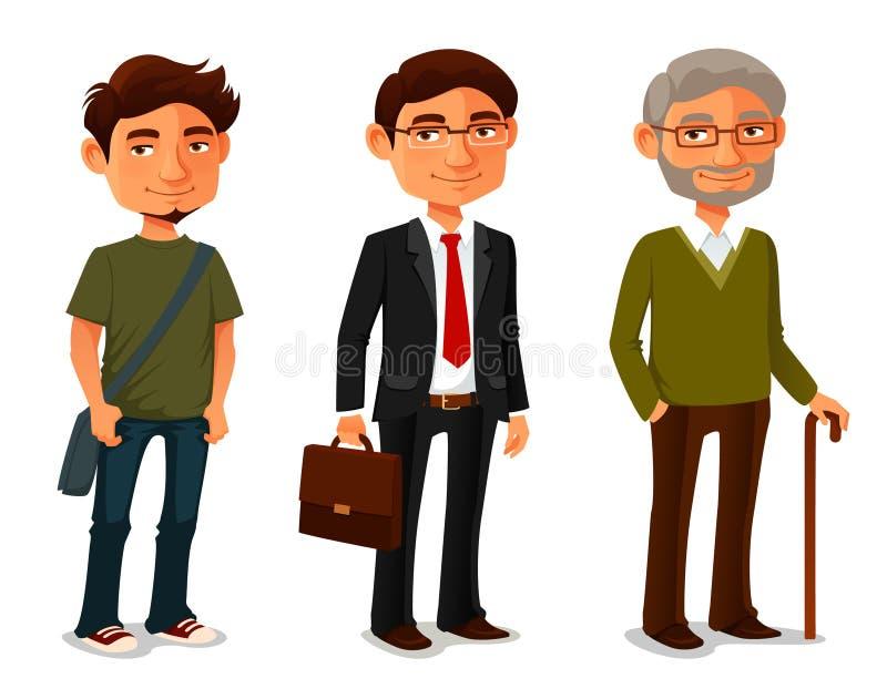 Tecknad filmtecken som visar ålderframsteg vektor illustrationer