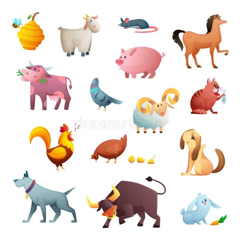 Tecknad filmteckendesign av lantgårddjur gulliga husdjur vektor illustrationer