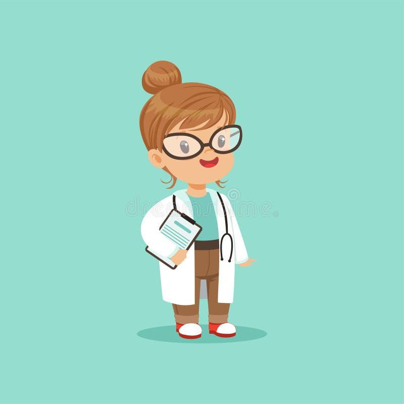Tecknad filmteckenet av lite behandla som ett barn flickan i medicinskt vitt lag med skrivplattan i hand och stetoskop runt om he vektor illustrationer