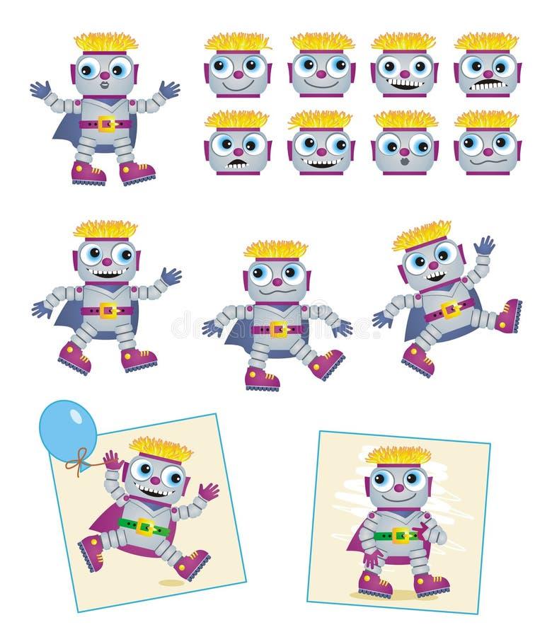 tecknad filmteckenrobotar stock illustrationer