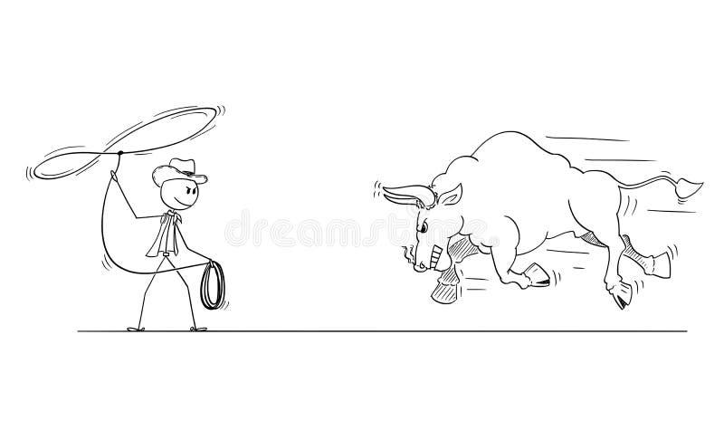 Tecknad filmteckning av cowboyen Trying som fångar tjuren med lasson eller repet royaltyfri illustrationer