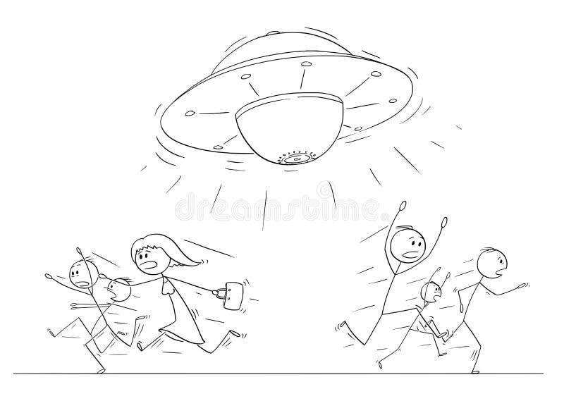 Tecknad filmteckning av folkmassan av folk som kör i nöd i väg från ufo eller det främmande skeppet stock illustrationer