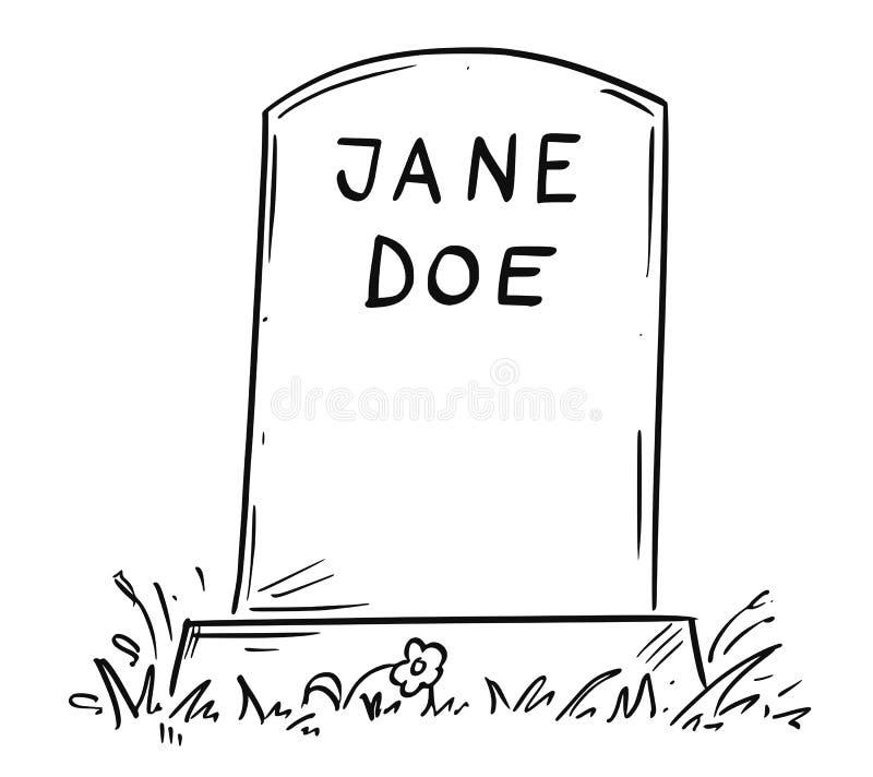 Tecknad filmteckning av okända Jane Doe Tombstone stock illustrationer