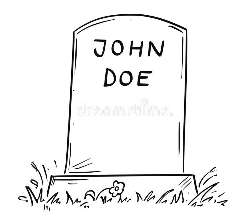 Tecknad filmteckning av okända John Doe Tombstone stock illustrationer