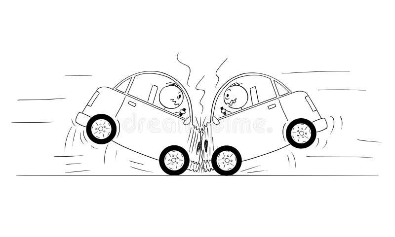 Tecknad filmteckning av olyckan för krasch för två bilar royaltyfri illustrationer