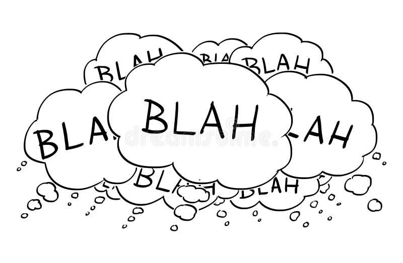 Tecknad filmteckning av text eller anförandebubblor eller ballonger som säger blaj royaltyfri illustrationer
