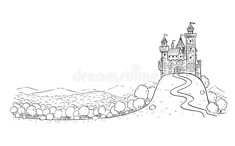 Tecknad filmteckning eller illustration av fantasilandskapet med slotten p? kullen och Forest Around stock illustrationer