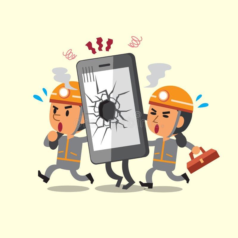 Tecknad filmtekniker som hjälper den brutna smartphonen royaltyfri illustrationer