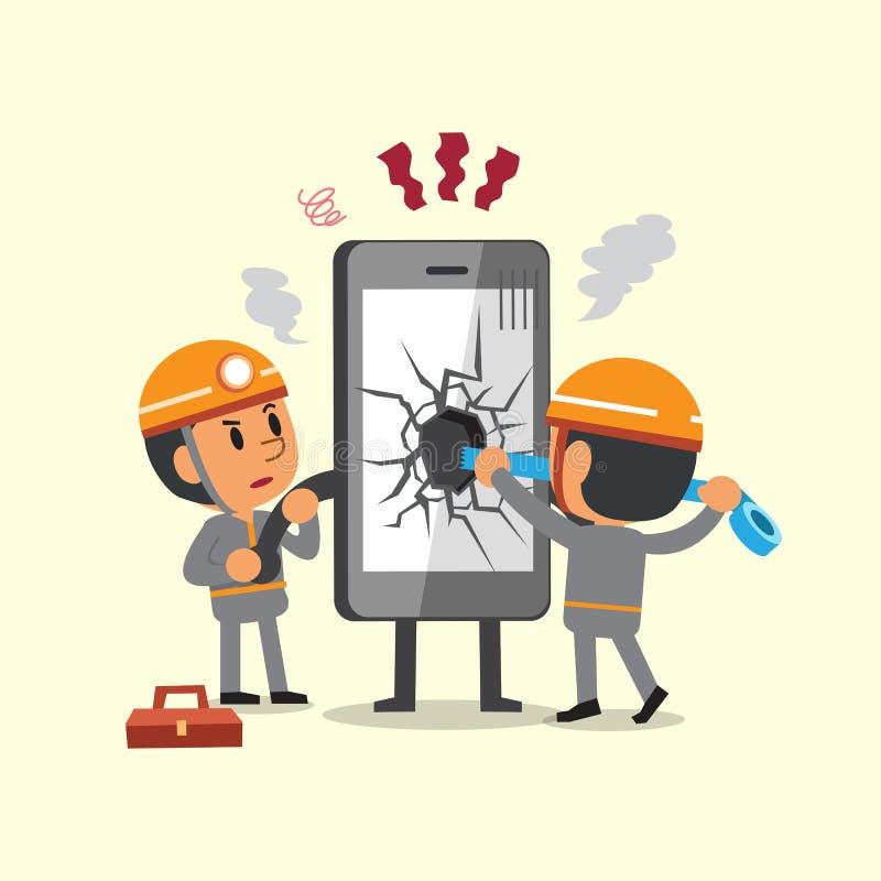 Tecknad filmtekniker som reparerar en bruten smartphone vektor illustrationer