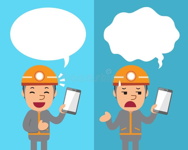 Tecknad filmteknikeren med smartphonen som uttrycker olika sinnesrörelser med anförande, bubblar royaltyfri illustrationer