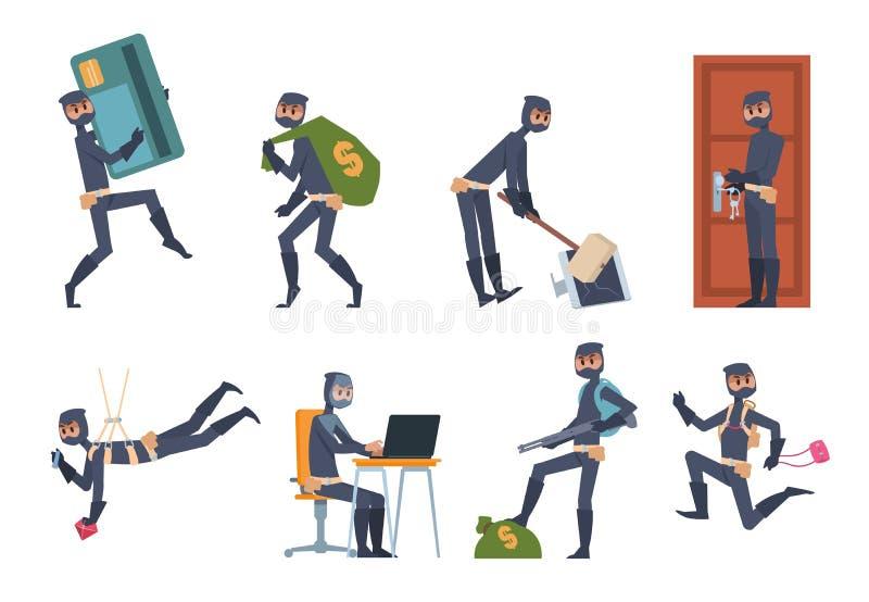 Tecknad filmtjuv Bilinbrott och plana platser för husröveri, brottslig person som bär svart kläder Vektor som hackar och stock illustrationer