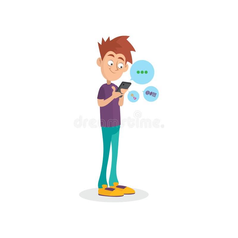 Tecknad filmtonåring som använder mobiltelefonen för att prata med vänner Grejböjelse Beroende från moderna teknologier royaltyfri illustrationer
