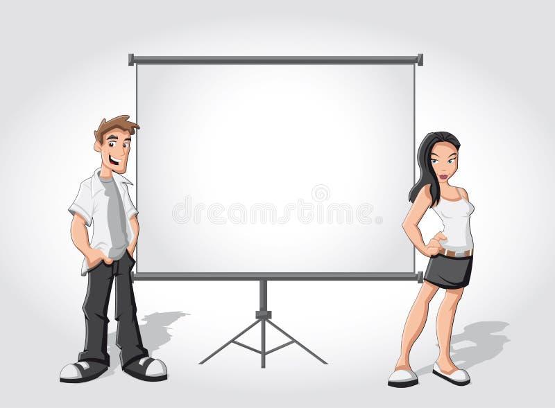 Tecknad filmtonåringar och vit affischtavla stock illustrationer