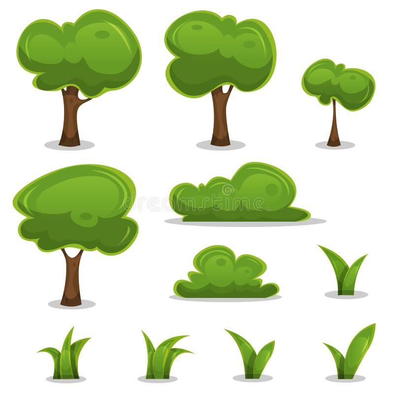Tecknad filmträd-, häck- och grässidauppsättning stock illustrationer