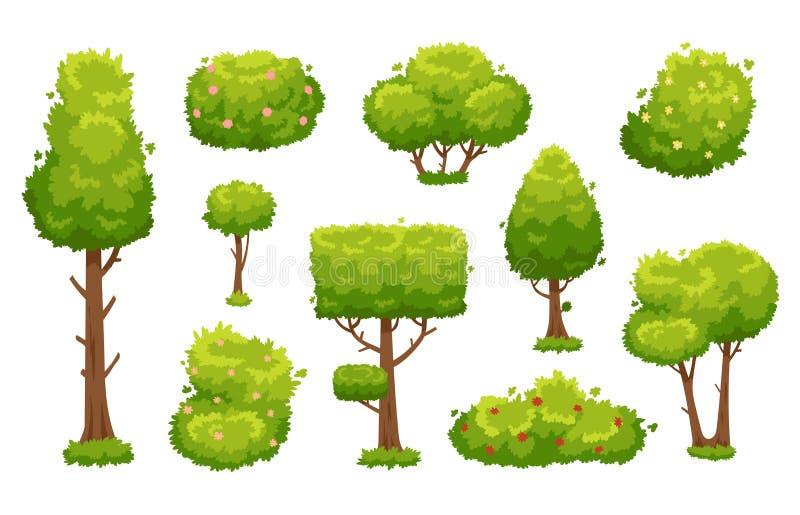 Tecknad filmträd och buskar Gröna växter med blommor för vegetationlandskap Naturskogträd och häckbuskevektor royaltyfri illustrationer