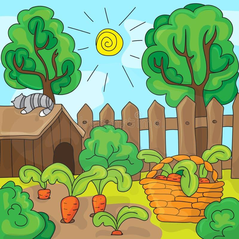 Tecknad filmträdgård med morötter, vektorillustration stock illustrationer