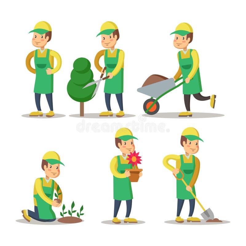 Tecknad filmträdgårdsmästare Planting Plant Arbeta i trädgården stock illustrationer