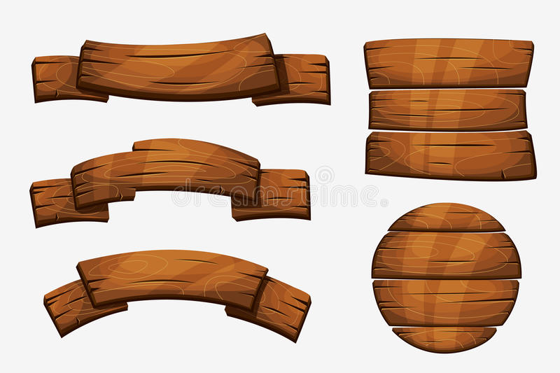 Tecknad filmträplankatecken Wood banervektorbeståndsdelar på vit bakgrund royaltyfri illustrationer