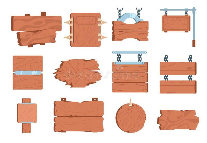 Tecknad filmträskyltar Pekare för vägvisare för beståndsdel för ram för tappning för baner teckenbrädeför träplanka modig Vektors stock illustrationer
