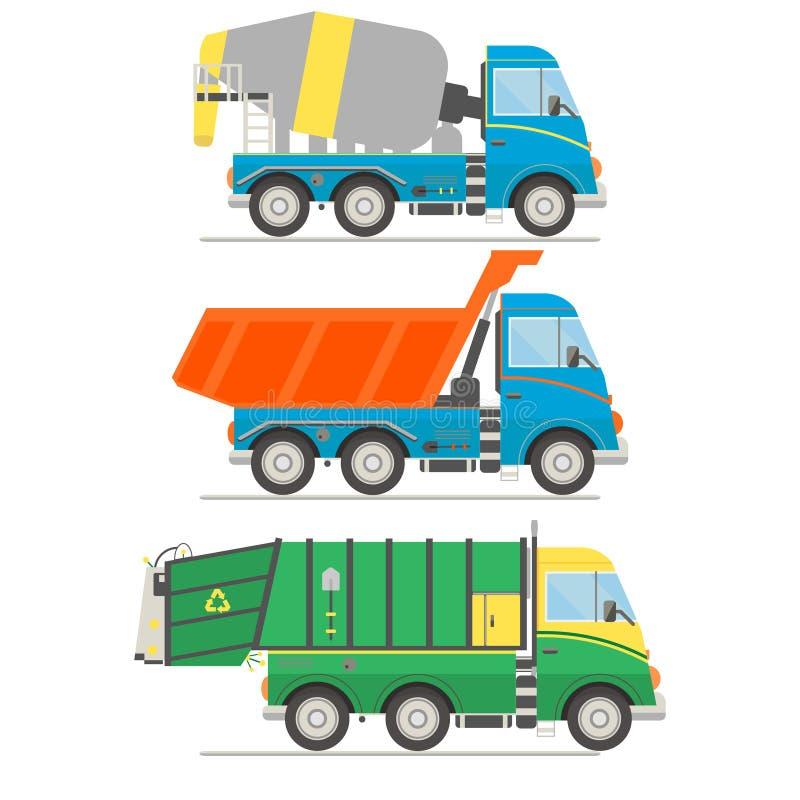 Tecknad filmtransportuppsättning Blandarelastbil, dumper, illustration för vektor för avskrädelastbil vektor illustrationer