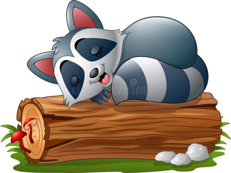 Tecknad filmtvättbjörn som sover på trädjournalen royaltyfri illustrationer