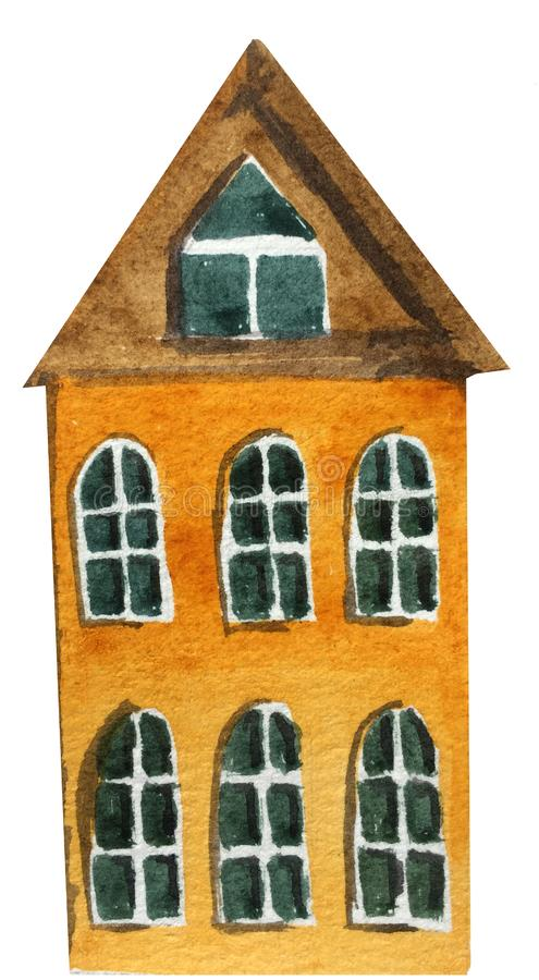 Tecknad filmtvå-berättelse hus med stora fönster på en vit bakgrund Vattenf?rgillustration f?r design royaltyfri illustrationer