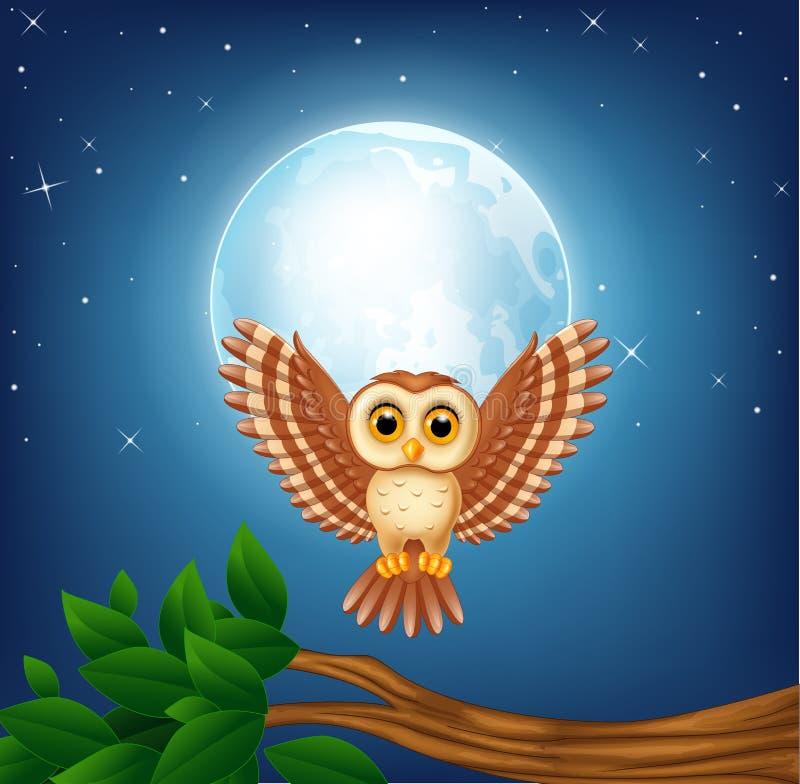 Tecknad filmugglaflyg i natten stock illustrationer