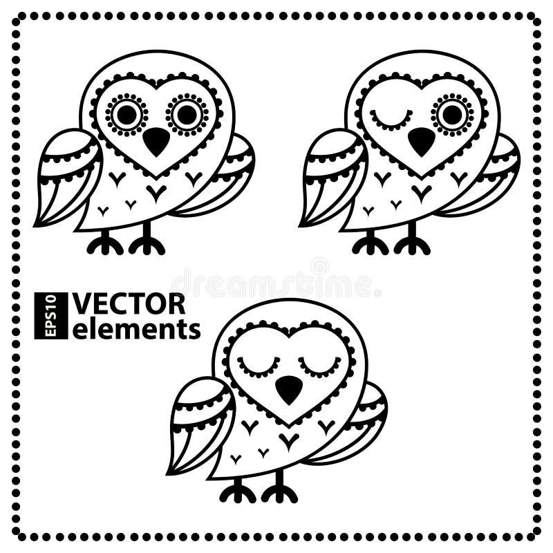 Tecknad filmugglor för vishet- eller utbildningsbegreppsdesign royaltyfri illustrationer
