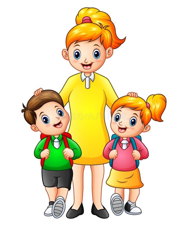Tecknad filmungar som eskorteras av deras mamma till skolan stock illustrationer