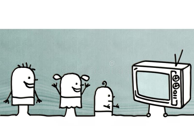 Tecknad filmungar som håller ögonen på TV vektor illustrationer