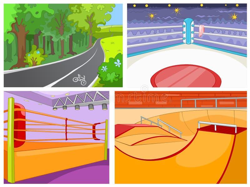 Tecknad filmuppsättning av bakgrunder - sportinfrastruktur stock illustrationer