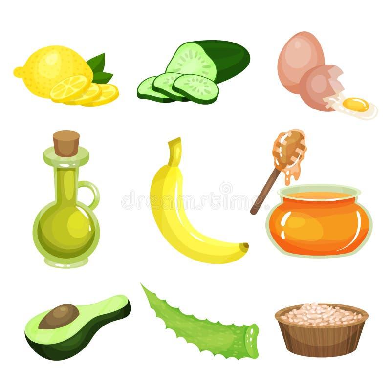 Tecknad filmuppsättning av naturliga ingredienser för hemlagad ansikts- maskering Delar för framsida- och kropphudomsorgskönhetsm vektor illustrationer