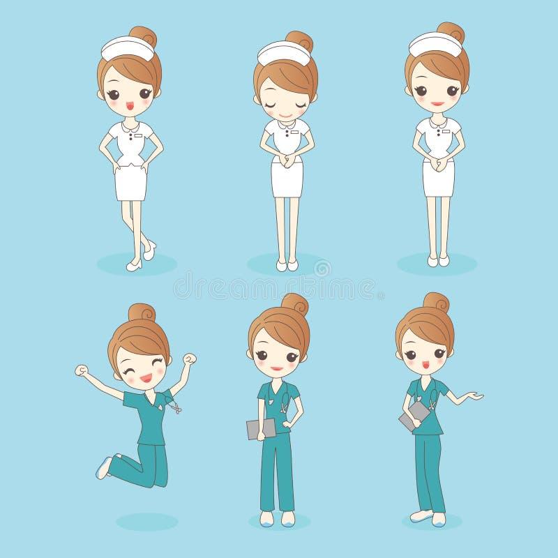Tecknad filmuppsättning av sjuksköterskakvinnan stock illustrationer