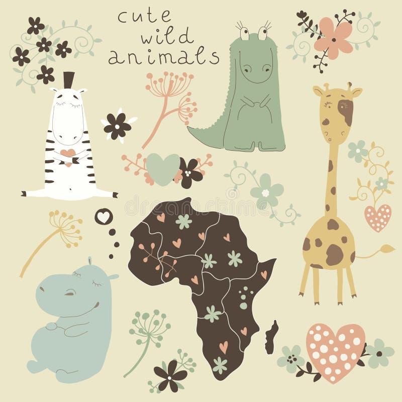 Tecknad filmuppsättning av vilda djur och blommor. royaltyfri illustrationer