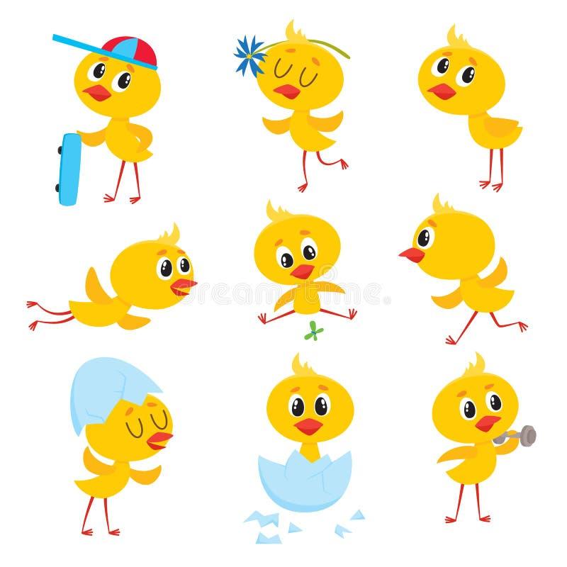 Tecknad filmuppsättningen av gullig påsk behandla som ett barn det fega teckenet stock illustrationer
