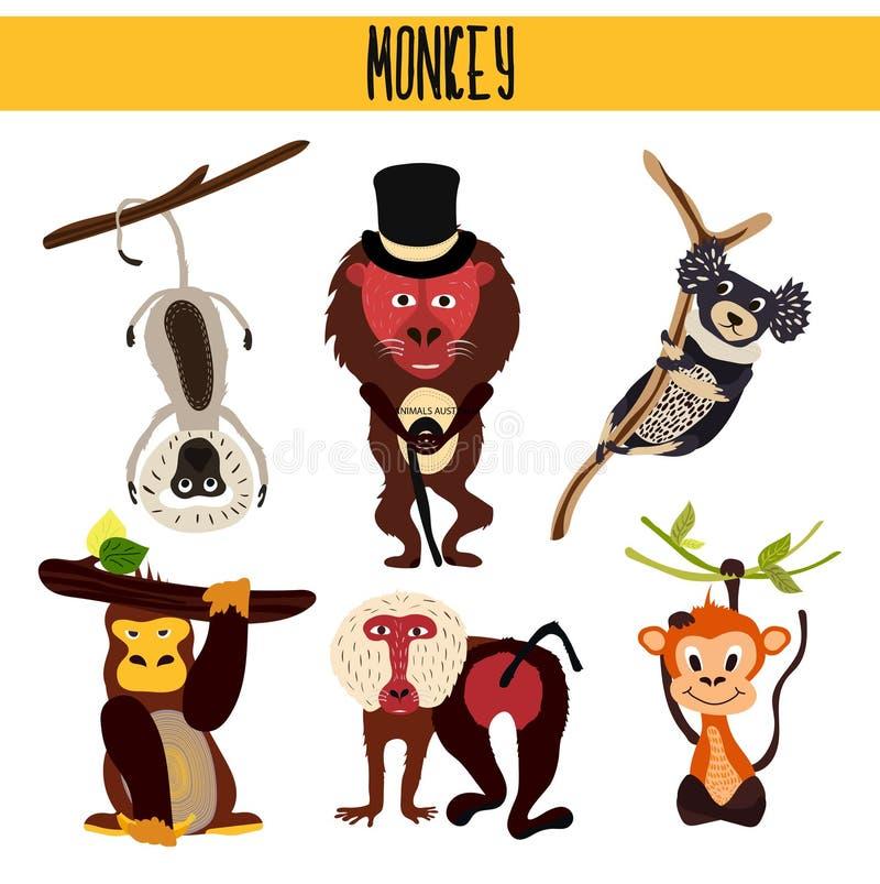 Tecknad filmuppsättningen av gulliga djur härmar uppehälle i olika världsdelskogar och tropisk djungel Macaque gorilla, Yukari, vektor illustrationer