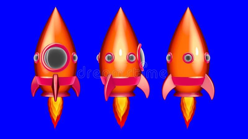 Tecknad filmutrymme Rocket Moving i utrymmet royaltyfri illustrationer