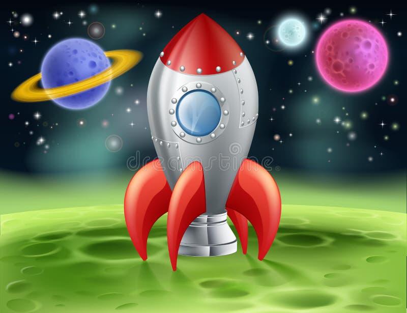 Tecknad filmutrymmeraket på den främmande planeten stock illustrationer