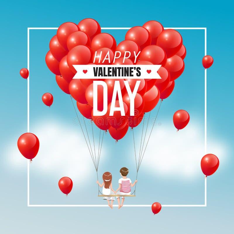 Tecknad filmvänparet på gunga med gruppen av röd hjärta sväller i blå himmel och text, den lyckliga Valentine's dagen, vektoril vektor illustrationer