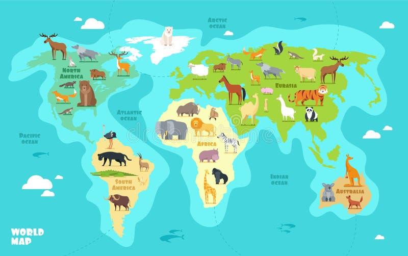 Tecknad filmvärldskarta med djur, hav och kontinenter Rolig geografi för illustration för ungeutbildningsvektor vektor illustrationer