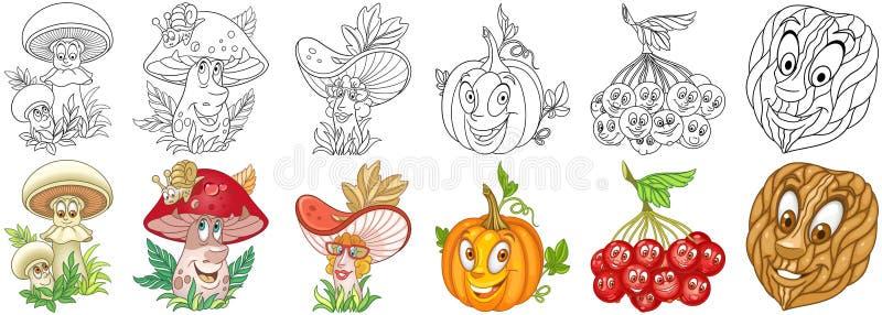 Tecknad filmväxtuppsättning stock illustrationer
