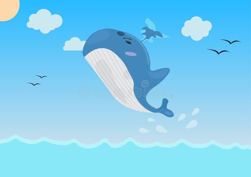 Tecknad filmval som hoppar i havet vektor illustration royaltyfri illustrationer