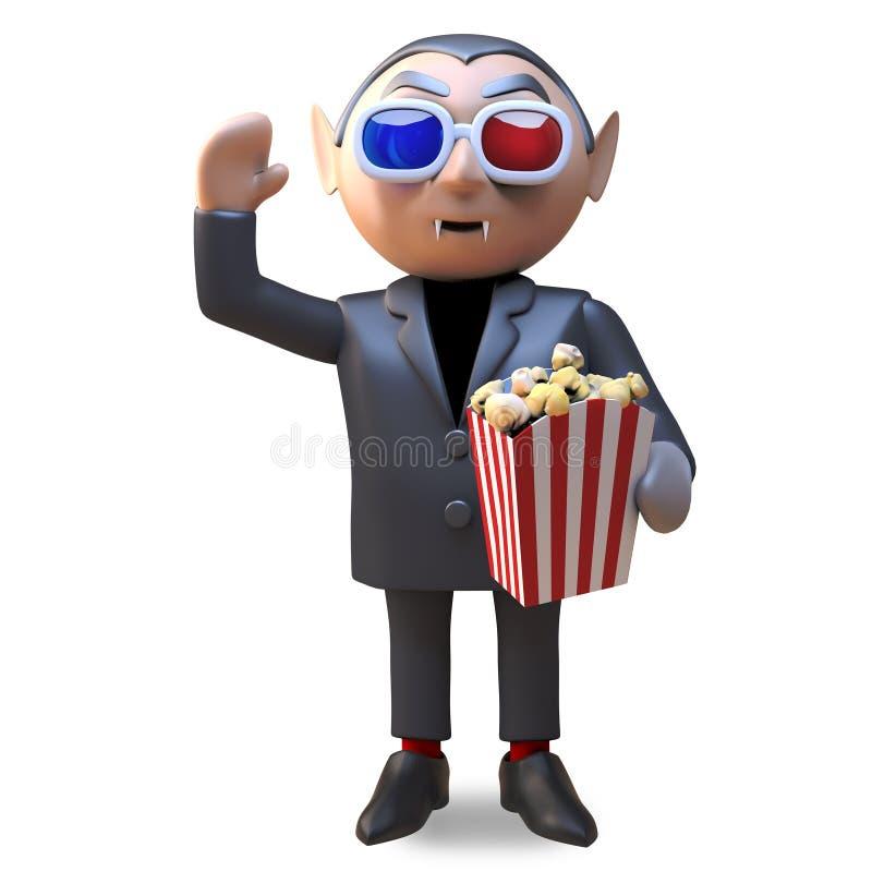 Tecknad filmvampyr dracula som äter popcorn, medan hålla ögonen på en film för fasa 3d, illustration 3d royaltyfri illustrationer