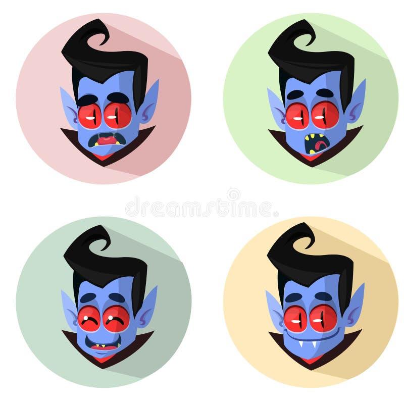 Tecknad filmvampyren heads symboler Vektorillustration av vampyrsinnesrörelser stock illustrationer