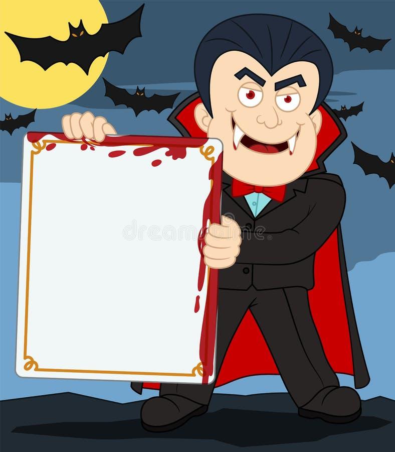 Tecknad filmvampyrtecken som rymmer det tomt blod befläckte teckenbrädet royaltyfri illustrationer